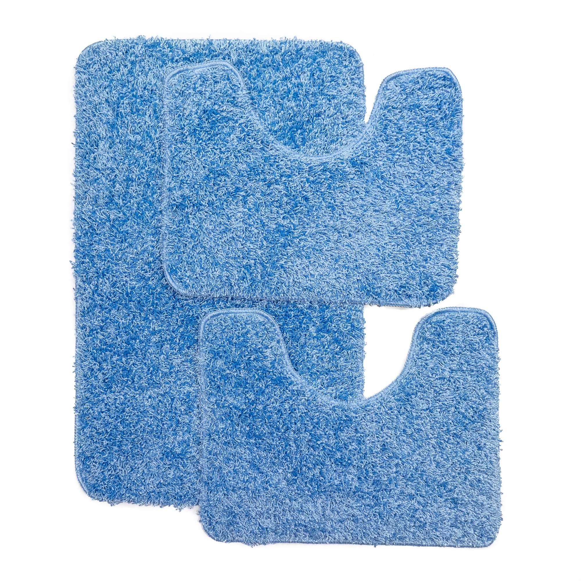 Tappeto SOFT PLAIN Blu Parure 3 pezzi