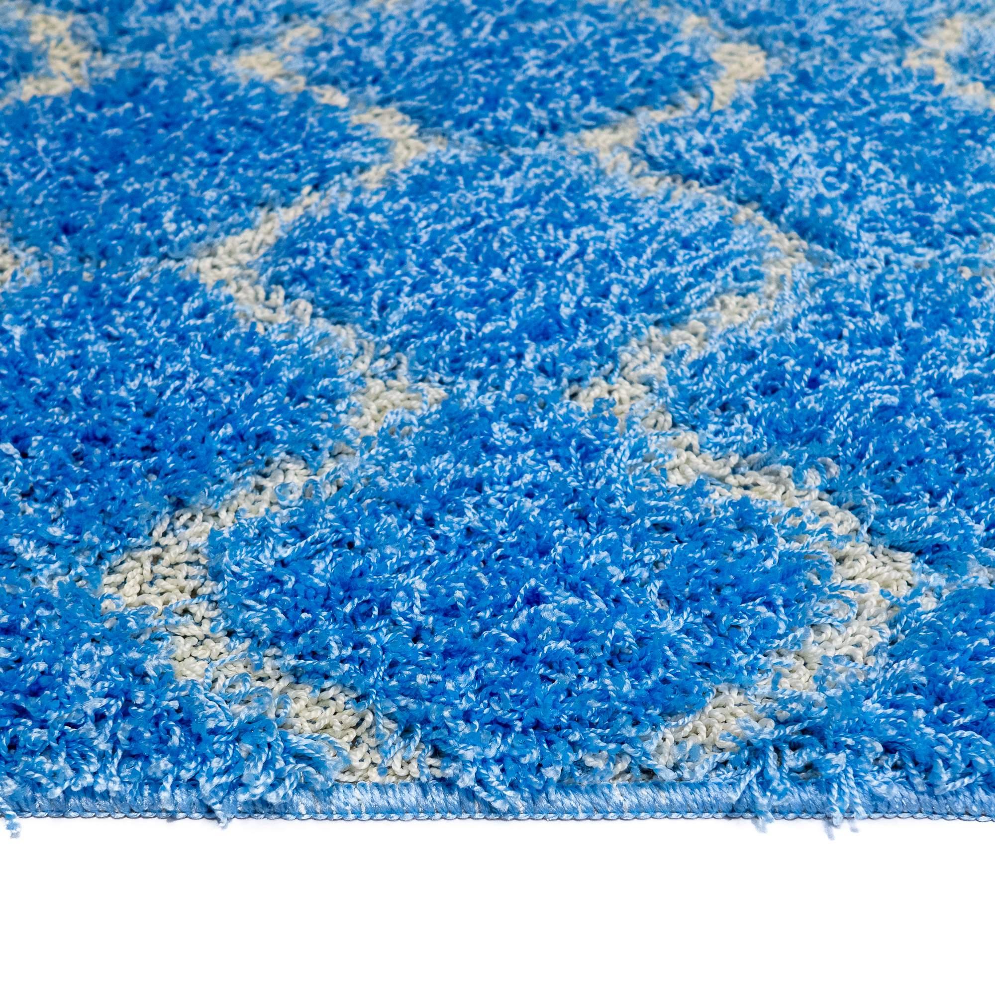 Tappeto SOFT TRELLIS Blu Parure 3 pezzi