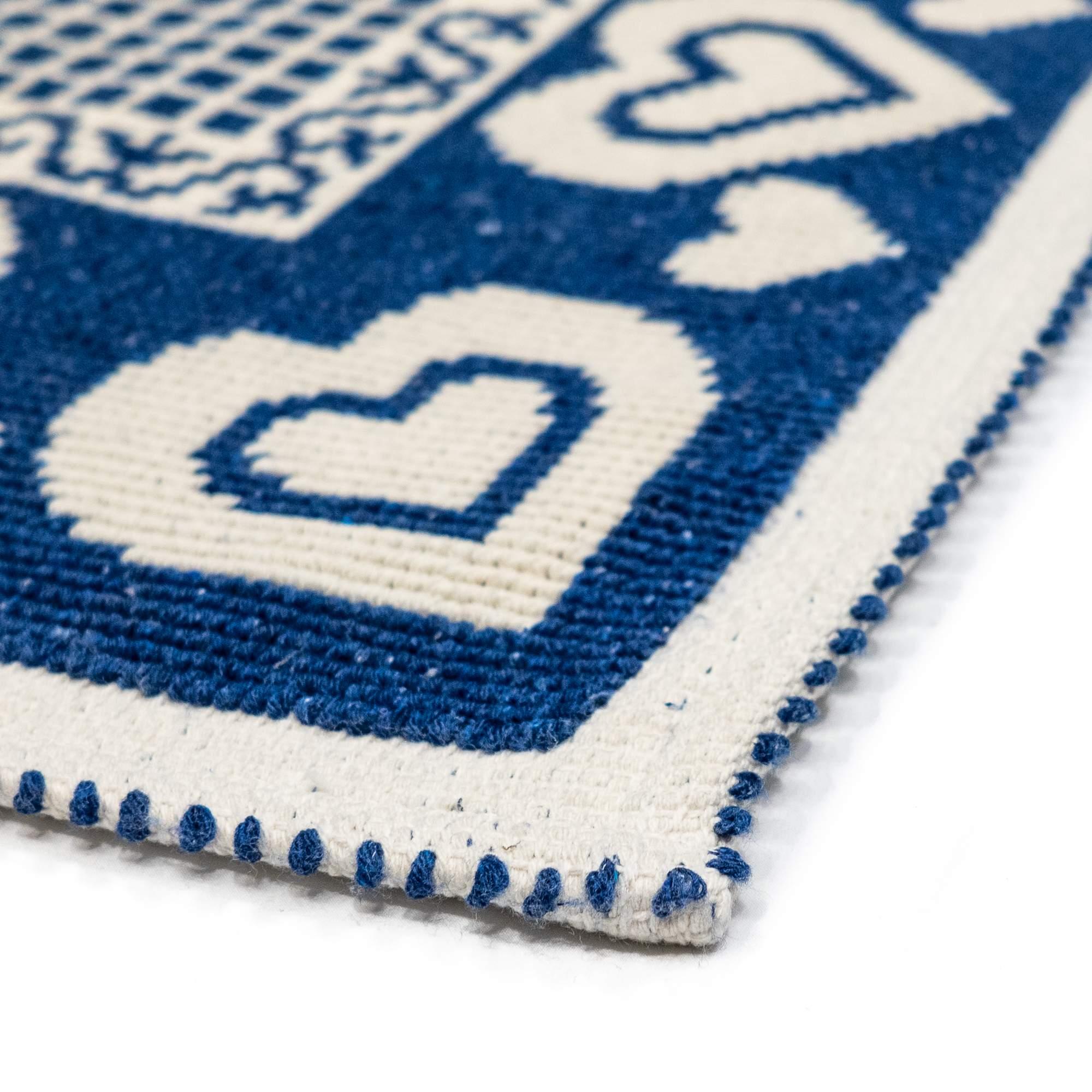 Tappeto Cotone HEARTS Blu