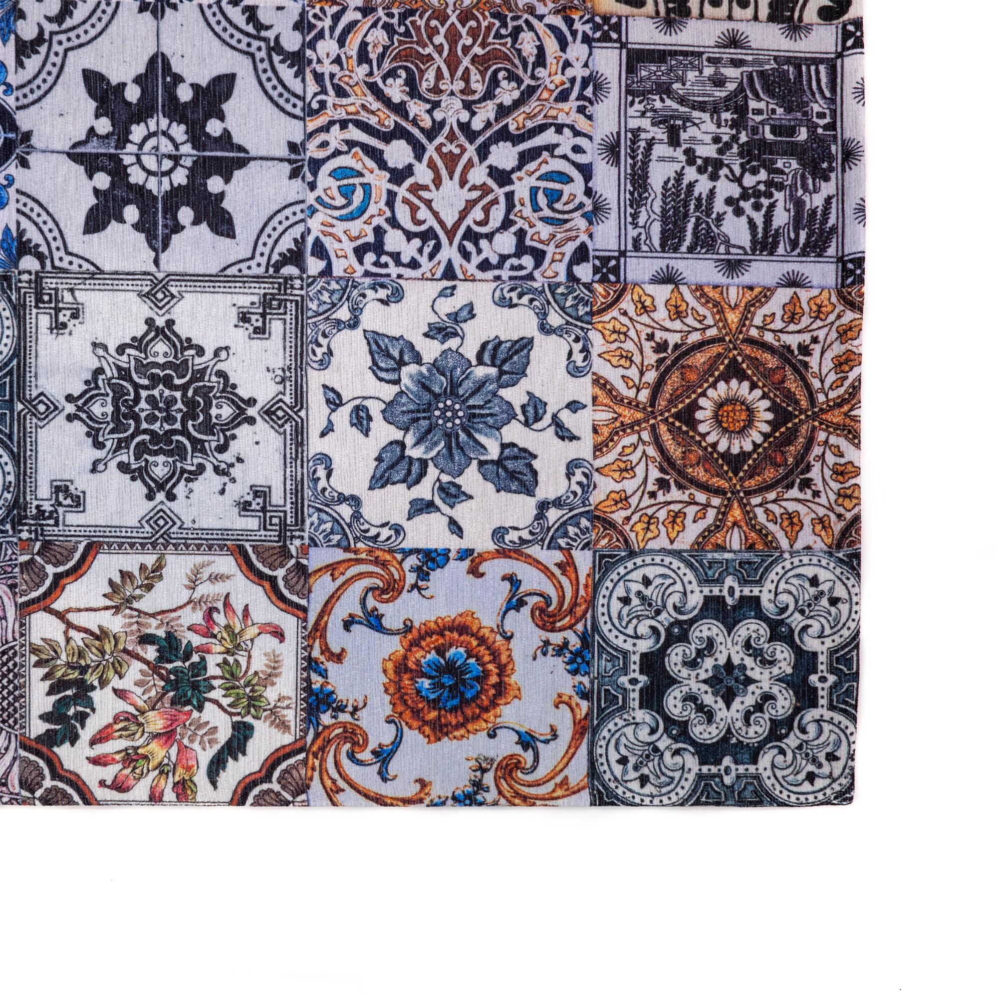 Tappeto Digital Chenille Azulejo C-3803